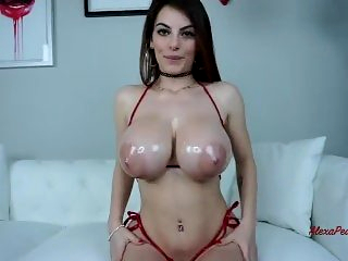 Alexa Pearl Tit Worship JOI Oil and Cummed On!